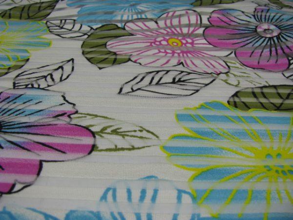 tricot streep met bloem Gossypium