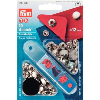 Prym anorak drukkers zilver 12mm
