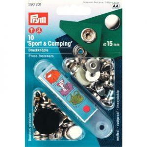 Prym sport & camping drukkers zilver 15mm