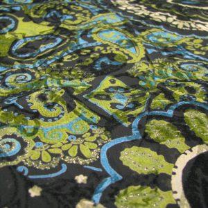 Viscose zwart met bloemen flockprint