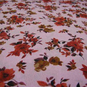Polyester roze met bloem Gossypium