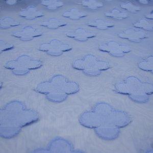 Voile blauw met bloemen Editex