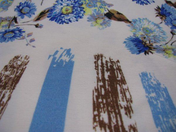 tricot streep bloem blauw Gossypium