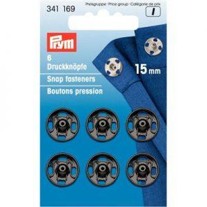 Prym drukkers zwart 15mm