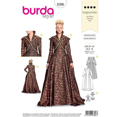 Burdapatroon 6398 renaissance jurk