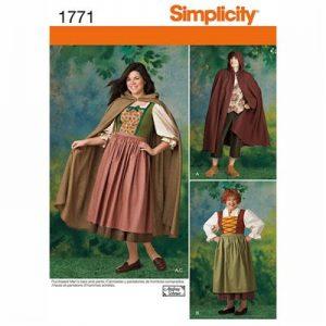 Simplicity patroon 1771 historische jurk en cape
