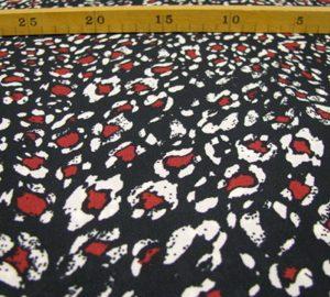 polyester zwart, rood met beige Editex